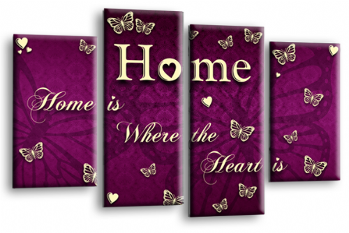 Home Quote Wall Art Print Purple Cream Love Picture